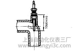 铠装热电偶在弯曲管道上的垂直安装图片