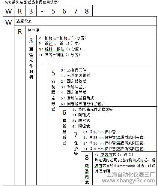 WRE-320/330活动法兰热电偶使用选型